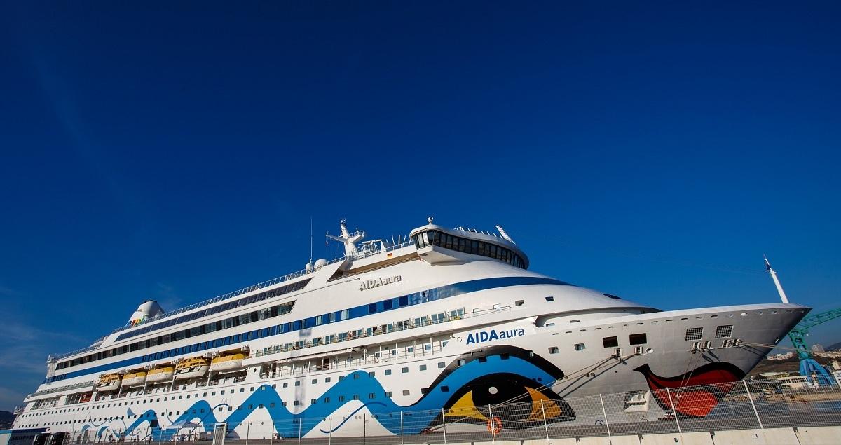 Our Aida Cruise ship, which took us through the Mediterranean Sea, from Palma de Mallorca, Rome, Livorno, Marseille to Barcelona.