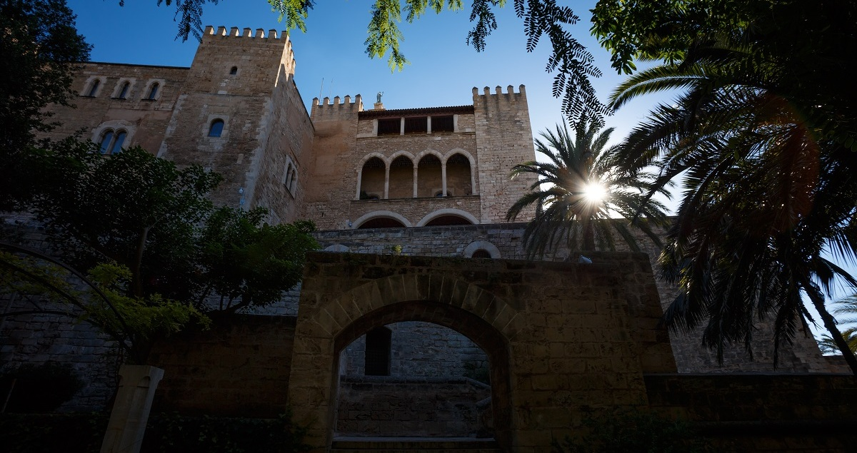 Building in Palma de Mallorca with the sun shining through a palm