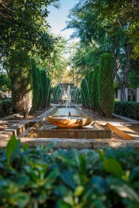 Beautiful and symmetrical fountain near the cathedral of Palma.