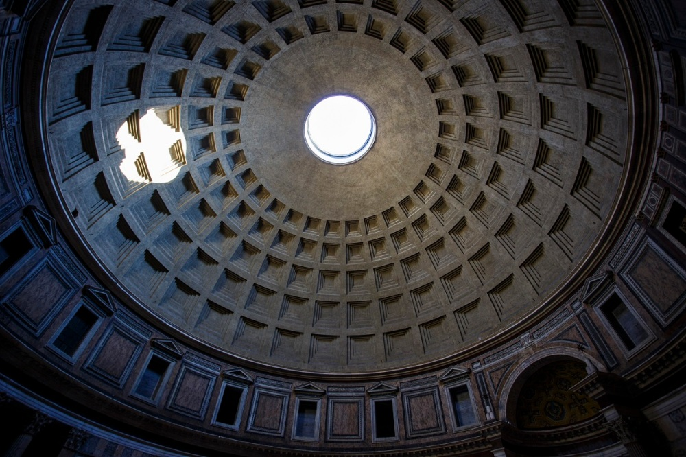 Cupola of the Pantheon in Rome with the famous oculus