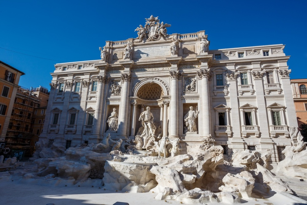 Trevi Fountain in Rome. Unfortunately without any water due to restoration