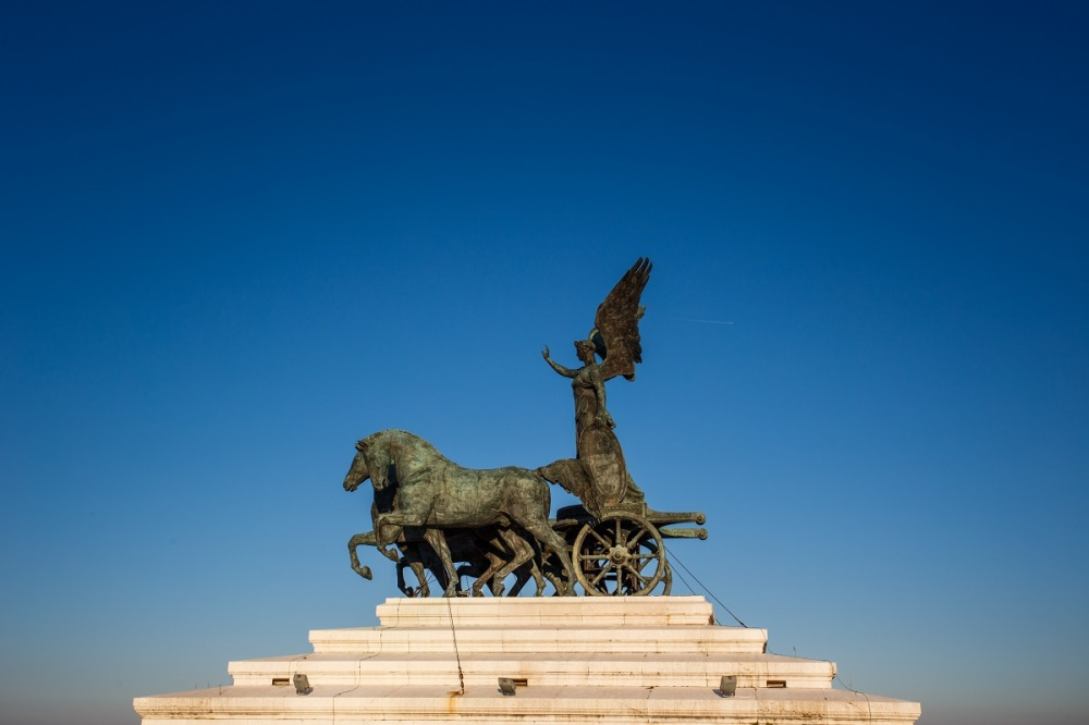 The Quadriga dell'Unità on the summit of Monumento Nazionale a Vittorio Emanuele II in Rome