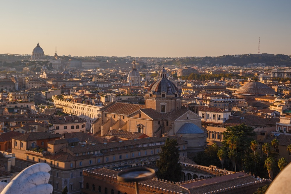 View from the roof of Monumento Nazionale a Vittorio Emanuele II with St. Peter's Basilica at the left and Patheop at the right.