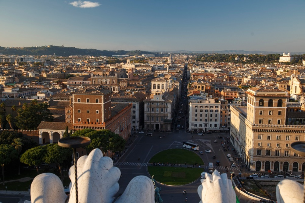 View from Monumento Nazionale a Vittorio Emanuele II with Piazza Venezia in front