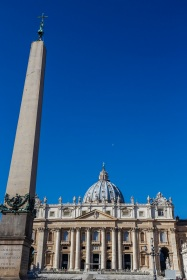St Peters Basilica. Front view with a blue sky and the moon in the background