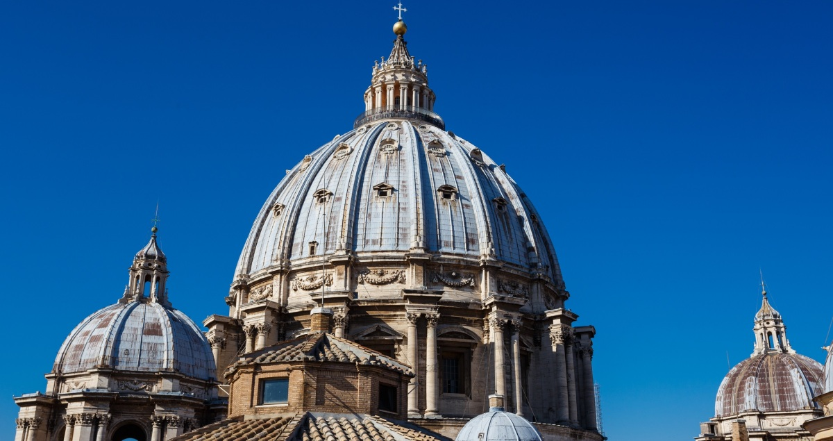 Beautiful image of the cupola of St Peters Basilica from the top of the roof